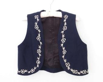 Vintage Bolero Vest * 70s Folk Vest * Floral Embroidered Waistcoat * M / L
