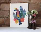 Hornbill Tropical Bird Art Print 8x10