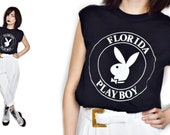 Free Shipping - VTG Deadstock RARE 70s Monochromatic PLAYBOY Black and White Ringer Muscle Tee Tank M