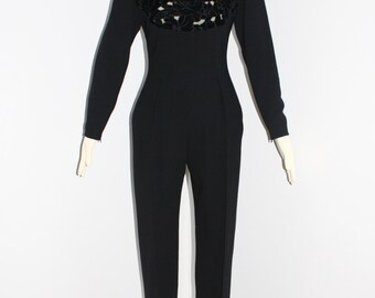 Vintage GIVENCHY COUTURE Jumpsuit Embroidered Cutout Romper