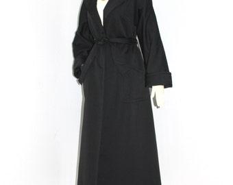 Vintage BILL BLASS for Bond Street Black Full Length Trench Coat Opera Jacket