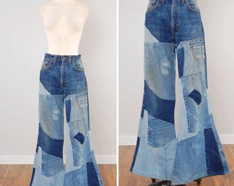 RARE vintage patchwork LEVIS bellbottom jeans / Handmade bellbottoms / Unique hippie jeans / 33 waist x 33 inseam