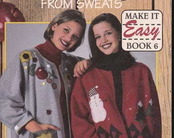 Leisure Arts 1997 Casual Cardigans from Sweatshirt Leaflet 1759 By Trice Boerens 9 Designs Seasonal Holidays