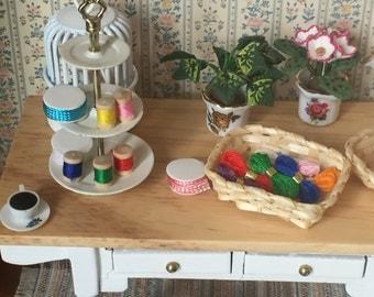 Miniature Floss, Yarn, Thread, Dollhouse Miniatures, 1:12 Scale, Dollhouse Accessory, Mini Crafting, Dollhouse Crafts, Decor, Accessory