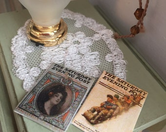 Miniature Vintage Saturday Evening Post Magazines, Dollhouse Miniatures, 1:12 Scale, Mini Magazines, Dollhouse Accessories, Decor