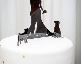 MADE In USA, Dog + Bride + Groom Silhouette Wedding Cake Topper + Dog Pet Family of 3 Silhouette Wedding Cake Topper Bride and Groom Topper