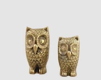 Vintage Brass Owl Figurines x 2 (Family B)