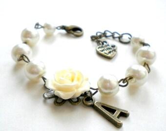 Personalized Children Jewelry Initial Bracelet Personalized Flower Girl Bracelet Newborn Bracelet Initial Flower Girl Bracelet Ivory Pearls