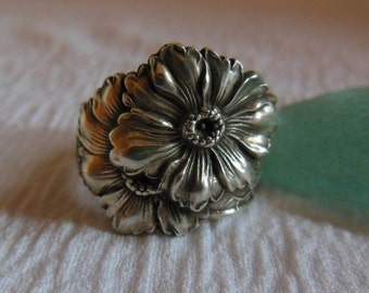 Daisies  Spoon Ring  Sterling Silver  Size 7.5