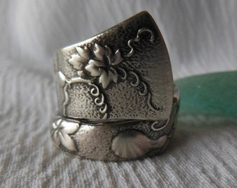 Tiffany Gourd and Vine  Antique  Sterling Silver Spoon Ring   Size 7.5