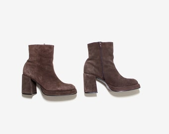 Vintage Ankle Boots 8 / Platform Ankle Boots / Brown Leather Boots / Sock Boots / Ankle Boots Women