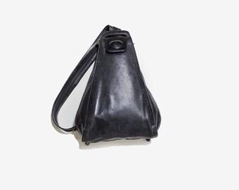 Black Leather Backpack / Black Leather Backpack / Leather Knapsack / Sling Backpack / Hobo Bag / Hobo Backpack