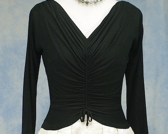 Vintage 50s 60s Gigi Young Black & White Cocktail Party Dress, Ruched Bodice, Sm Med 6 8
