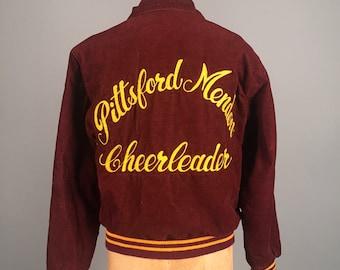 1950s corduroy cheerleader jacket • vintage 50s chainstitch embroidery • burgundy mid century coat