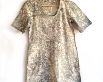 Tshirt Dress in Gray Hand Dyed Stargazer Pattern