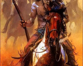Native American Image 8 x 10 reproduction print on cardstock dog soldier