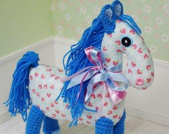 Horse Pony Amigurumi Crochet Toy Animal Baby Girl Strawberries Soft Customized Toys Handmade Gift