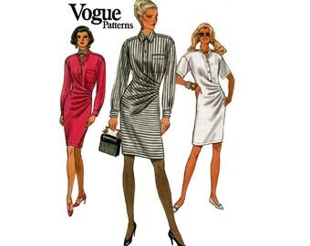 Vogue 8443 90s Dress Pattern Asymmetric Side Draped Shirtdress Size 12 Bust 34 inches UNCUT Factory Folded