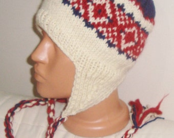 Hand Knit beanie Hand knitted beanie Warm hat Winter hat Wool winter beanie hat Men hat Women hat gift for him her ear flap Hat