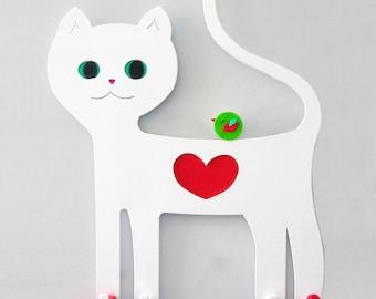Kids coat rack. Cat wall hook. White cat. Children coat hook. Cat lover gift. Modern coat hanger. Nursery wall decor. Kids wall decor. Cats.