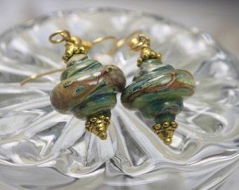 Webbed Arke Silver Glass baroque Lampwork bead earrings