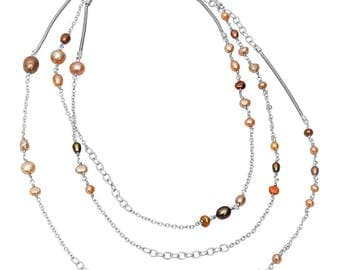 Sterling Silver Waterfall Pearl Necklace: autumn tones