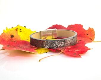 Metallic Leather, Leather Bracelet, Metallic, Metallic Jewelry, Stacking Bracelet, Metallic Bracelet, Gifts Under 40, Womens Leather
