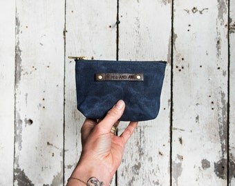 Small Waxed Canvas Pouch in Rook, Indigo Zipper pouch, wallet pouch, zipper wallet, waxed canvas bag , waxed canvas pouch, zip pouch. Pouch