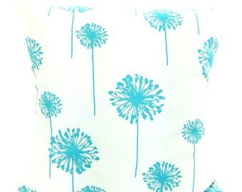 Aqua Dandelion Pillow Covers, Cushions, Throw Pillow, Decorative Pillow, Aqua Blue White Girly Blue Dandelion, One or More ALL SIZES