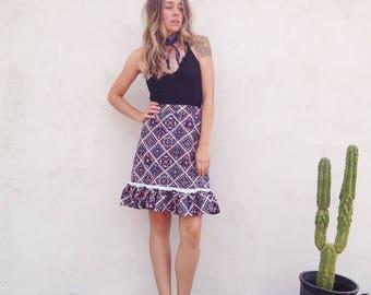 Vintage 70's Bandana Print Skirt / High Waist Country Prairie Midi Skirt / Boho Hippie Rockabilly Women S