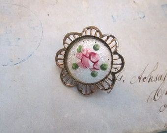 vintage guilloche rose brooch