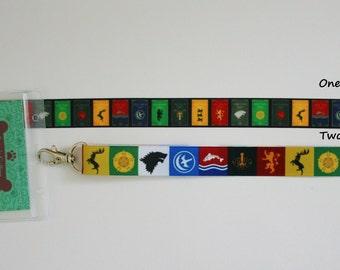 Lanyard Key Fob Game of Thrones Ribbon Safety Breakaway Lanyard Keychain ID Holder Whistle Phone Badge Pin
