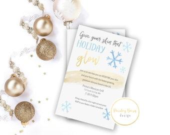 Give your skin that winter GLOW Invite | Printable Invite Digital File | 4x6 5x7 | Invitation, Custom, Skincare, Skinvitation, Printed