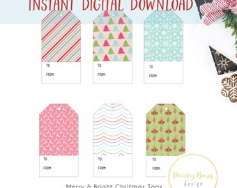 Merry & Bright Christmas Gift Tags | INSTANT DOWNLOAD | Printable Gift Tags | Christmas, Vintage, Retro, Gift, DiY
