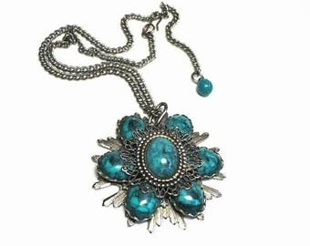 60s Flower Pendant Necklace with Plastic Turquoise Cabochon Beads & Silver Filigree Metal Design - Vintage 60's Southwestern Costume Jewelry