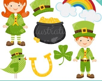 Leprechaun Kids Cute Digital Clipart - Commercial Use OK - St. Patricks Day Graphics, St. Patricks Day Clipart