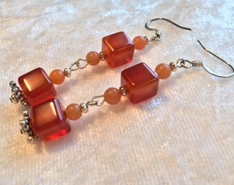 Carnelian Earrings, Brown Earrings, Carmel Brown Earrings, Carnelian Squares, Natural Stone Earrings, Dangle Earrings, Clip on Available