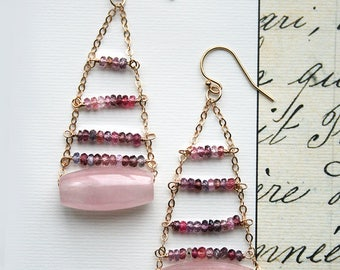 Pink Boho Earrings, Ladder Earrings, Gemstone Jewelry