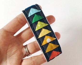 Rainbow Key Fob, Fabric Lanyard Key Chain for Women, Fabric Fob Wristlet, Small Gift Under 30, Keychain Wristlet, Quilted Key Fob