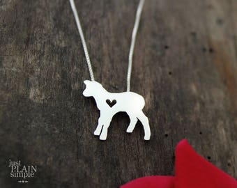 Lamb necklace, sterling silver, tiny silver hand cut pendant with heart,