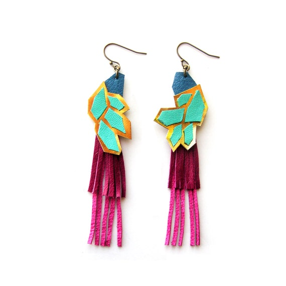 Geometric Earrings, Leather Earrings, Fringe Earrings, Facet Earrings, Blue Magenta and Gold Earrings, Statement Earrings, Leather Jewelry