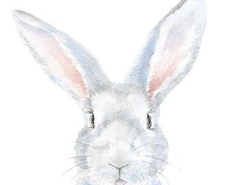 Gray Bunny Rabbit - Watercolor Painting Bunny - 8 x 10 - Gray Nursery Art - 8.5 x 11 Giclee Reproduction Nursery Wall Art Print