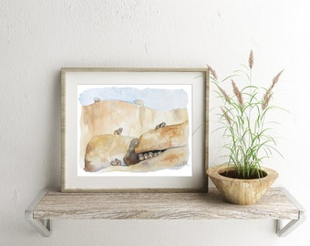 Rock Hyrax - ALL Proceeds to Charity - American Refugee Committee - Digital Download, Printable Wall Art, Animal Art, Home Decor, Watercolor