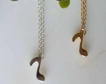 musical note necklace, gold musical note necklace, silver musical note necklace, music lover necklace, musician necklace, music teacher gift