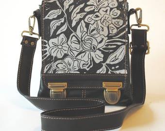"Leather messenger bag, small, cross body, espresso brown, wildflower print, ""Leeds Satchel"""