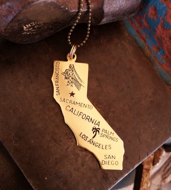 California Necklace, State Necklace, Brass Pendant, State Pride, Los Angeles, San Francisco, San Diego, Palm Springs, Sacramento, Under 20