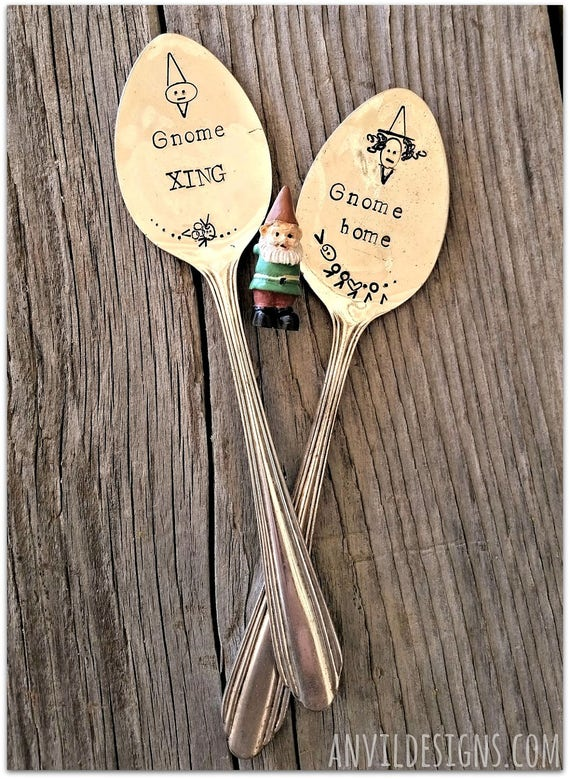 Gnomes, Vintage Silverware, Spoon Marker, Hand Stamped, Gnome Home, Garden Decor, Miniatures, Fantasy Gardening, Woodland, Window Box, Signs