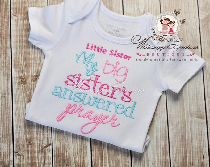 Newborn Gown - My Big Sister's Answered Prayer Embroidered Bodysuit - Custom Newborn Gift - Baby Shower Gift