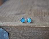 Australian Opal Studs in Sterling Silver - Small Opal Stud Earrings