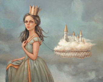 Castle in the Clouds. Signed Art Print of an Original Surreal Oil Painting